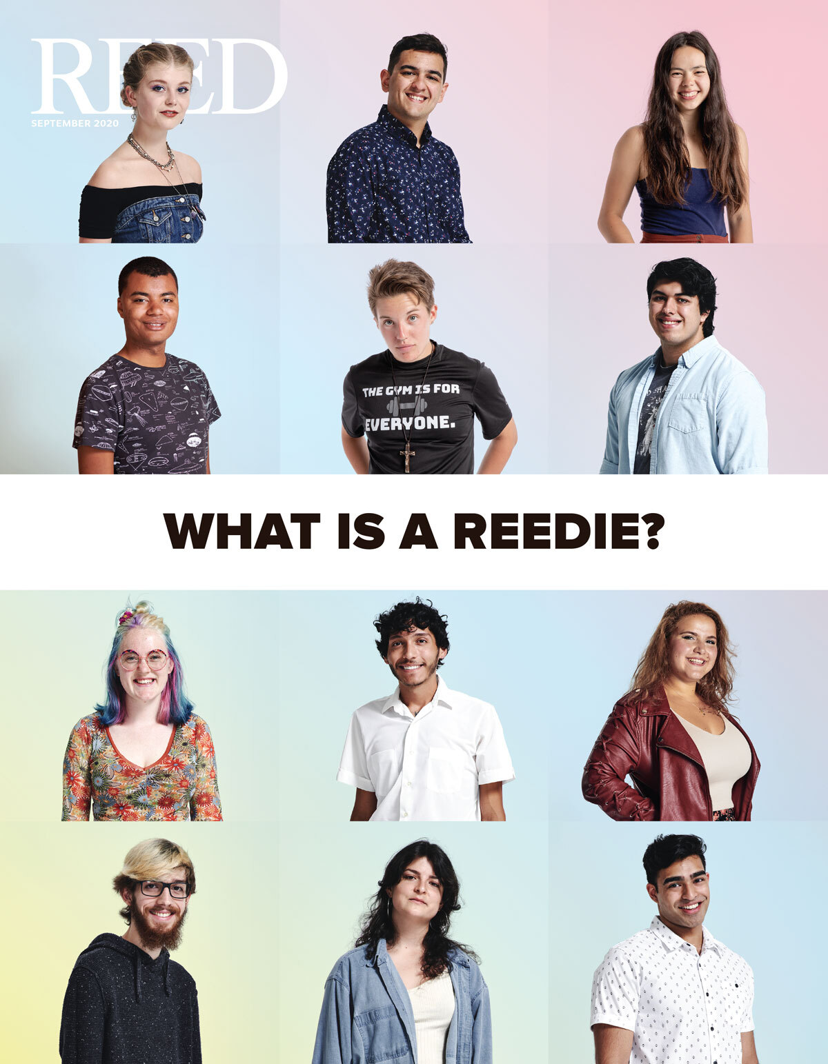 September 2020 Reed magazine cover showing twelve images of Reed students and asks What is a Reedie?