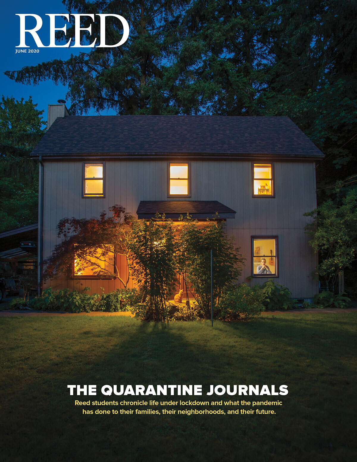 June 2020 Reed magazine cover showing a photograph of a house in the evening with the lights on and a peron seated looking out the window from inside