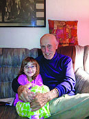 A picture of Len Kampf  and his great-granddaughter Lily
