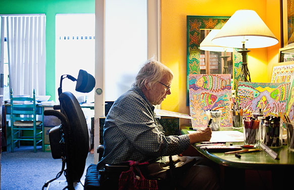 """""""Some say my artwork is triumphing over my disability, but my disability has been helpful to me,"""" says Kathleen Flannigan '62. """"Instead of fighting it, I exploit it."""""""