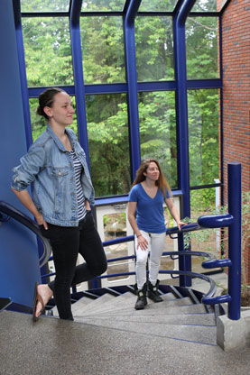 Allie Morgan '14 and Anya Demko '14 installed a series of lasers and phototransistors on the spiral staircase in Vollum, turning the steps into a giant, twisting keyboard spanning two octaves on a C major scale.