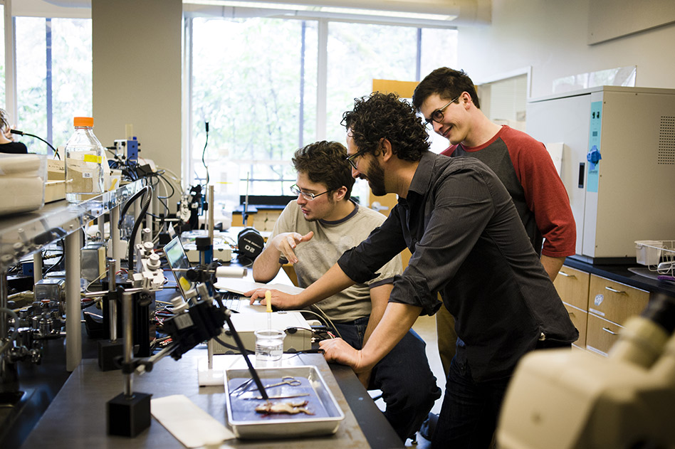 Prof. Erik Zornik works with students in his lab