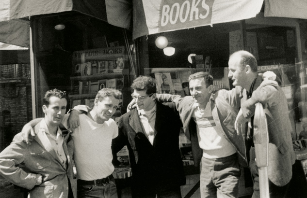 CtM:tB co-founder Traveler Alpha, Neal Cassady, Allen Ginsberg, CtM:tB co-founder Traveler Beta, Lawrence Ferlinghetti in front of City Lights Books in San Francisco, 1955