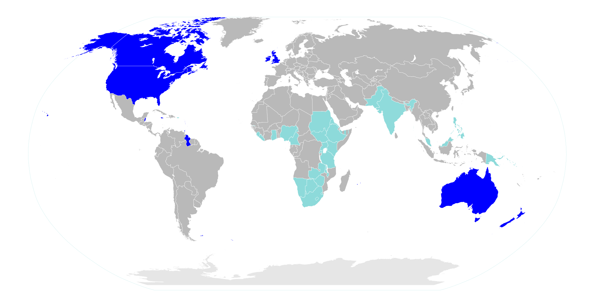 Global english sociolinguistic artifacts a map showing the use of english around the globe as a native language and as a second language or lingua franca gumiabroncs Image collections