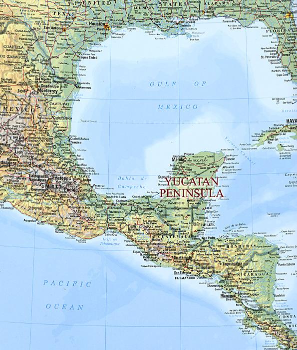 Map Of Central America Yucatan Peninsula.Huts Domestic Buildings